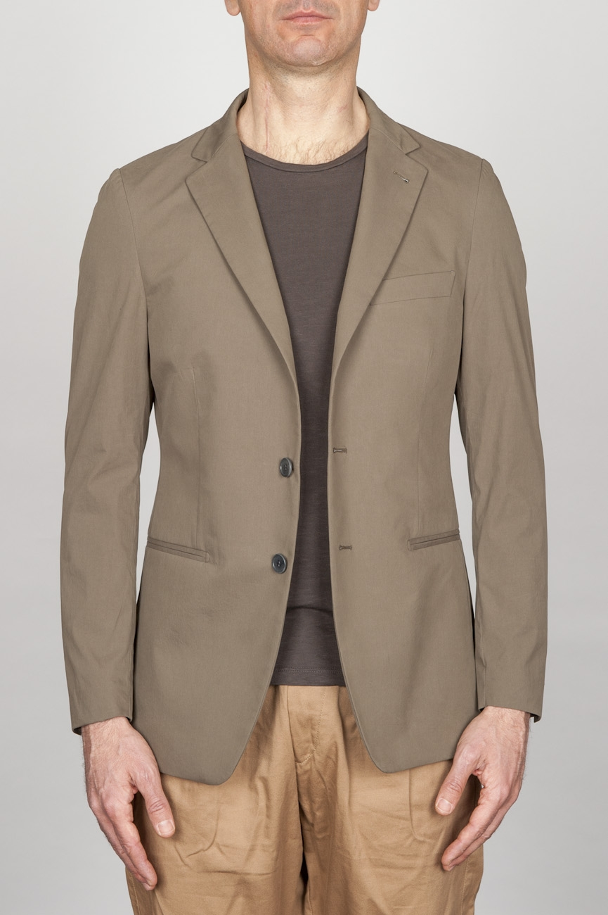SBU - Strategic Business Unit - Single Breasted Unlined 2 Button Jacket In Pale Brown Cotton Blend