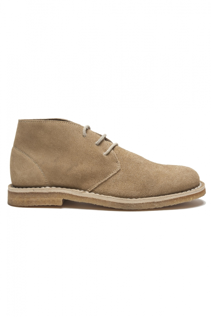 SBU 01515 Classic mid top desert boots in beige suede calfskin leather 01