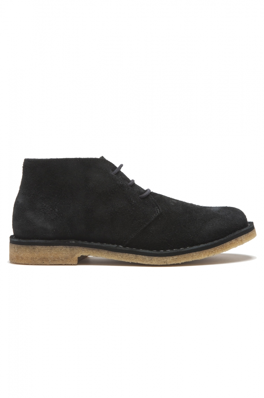 SBU 01516 Classic mid top desert boots in black suede calfskin leather 01