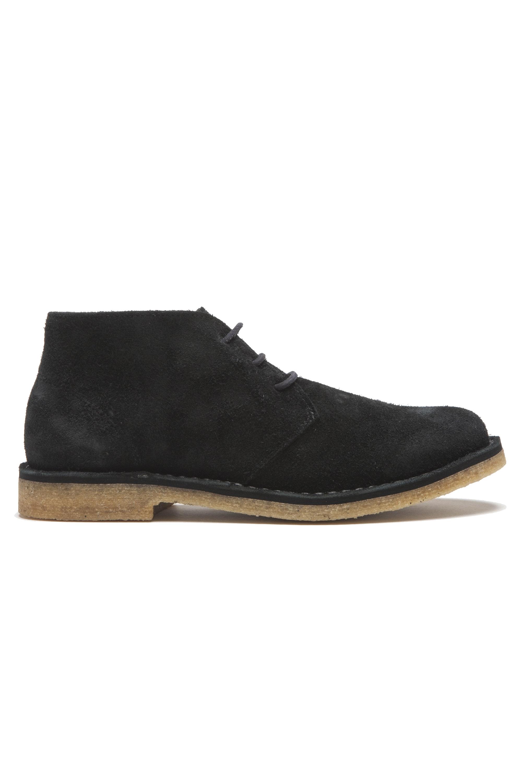 SBU 01516 Clasicas mid top botas de desierto en ante de becerro negras 01