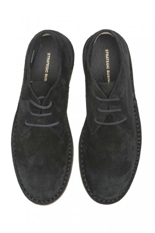 SBU 01516 Classiques mid top bottes du désert en veau velours noir 01