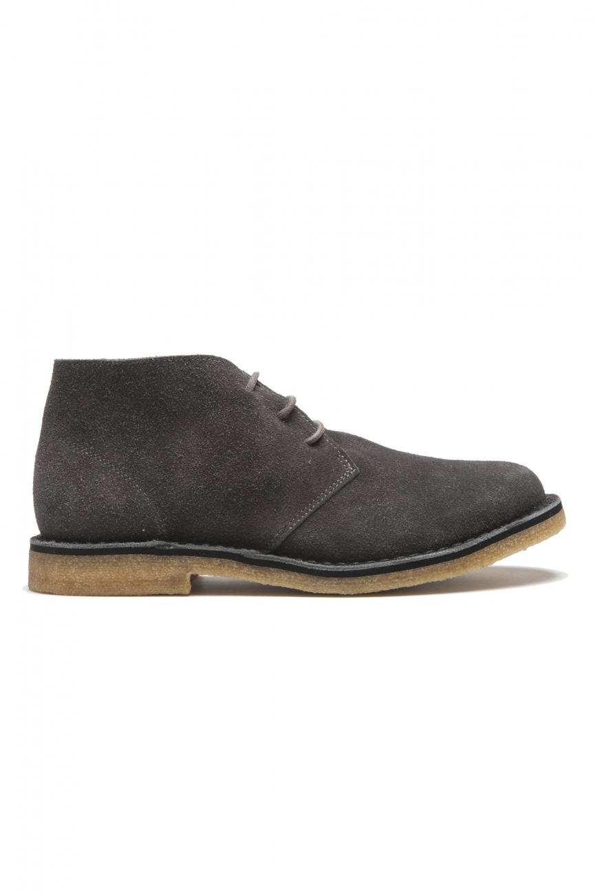 SBU 01517 Classic mid top desert boots in grey suede calfskin leather 01