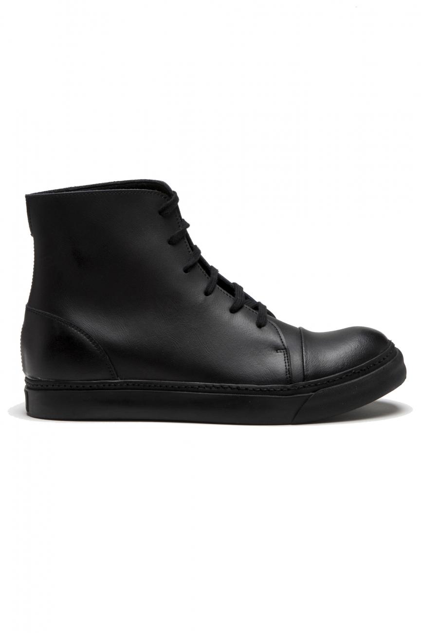 SBU 01518 黒いカーフスキンレザーのハイトップ軍用ブーツ 01