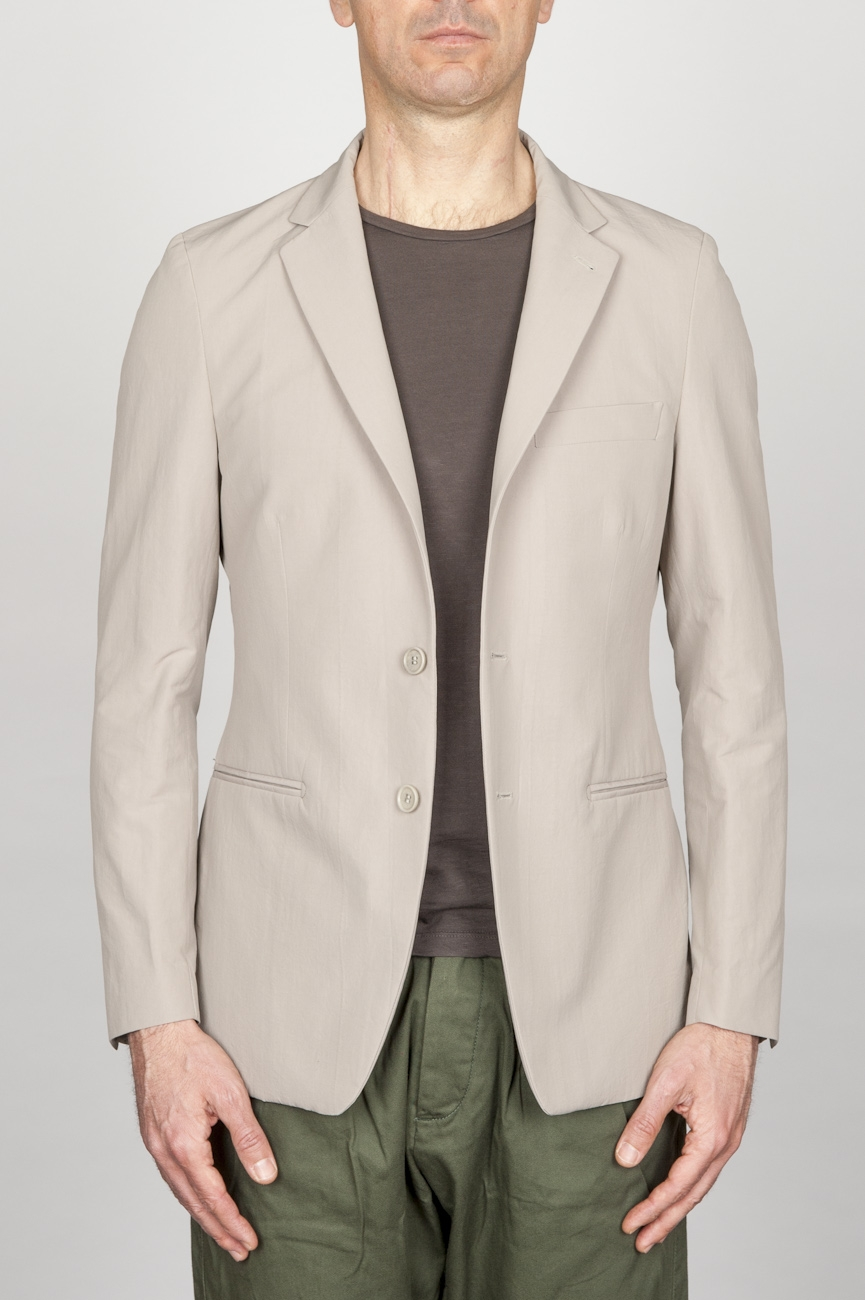 SBU - Strategic Business Unit - Single Breasted Unlined 2 Button Jacket In Grey Cotton And Silk