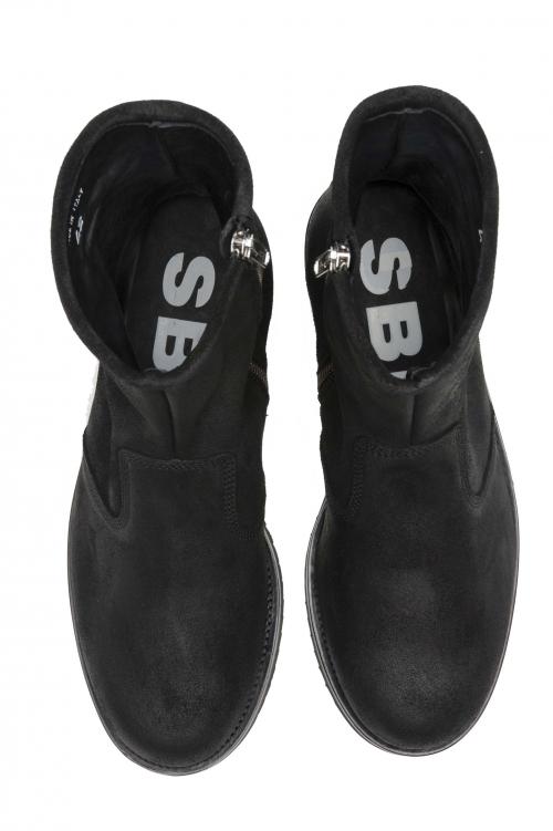 SBU 01529 ブラックオイルレザーのクラシックなオートバイブーツ 01