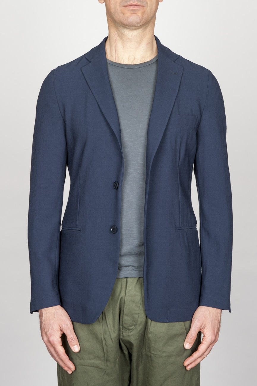 SBU - Strategic Business Unit - Single Breasted Unlined 2 Button Jacket In Blue Stretch Wool