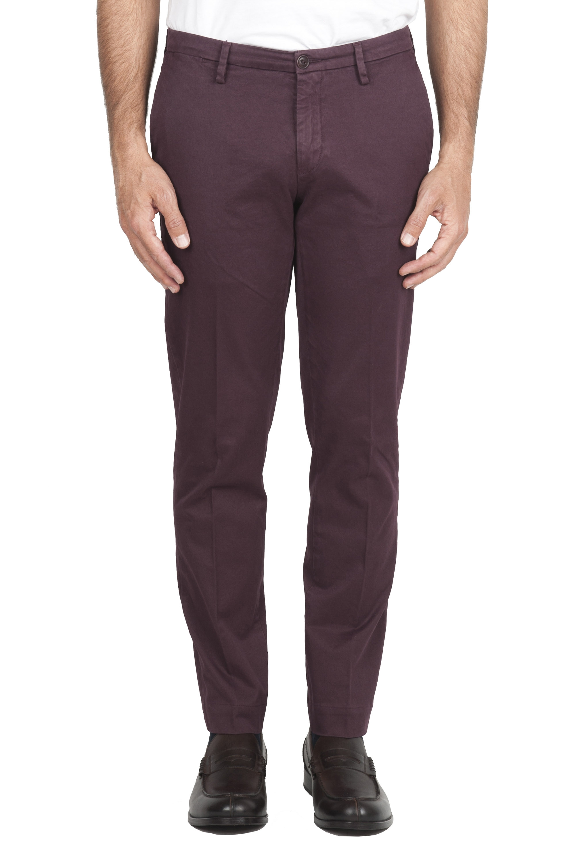 SBU 01535 Pantaloni chino classici in cotone stretch bordeaux 01