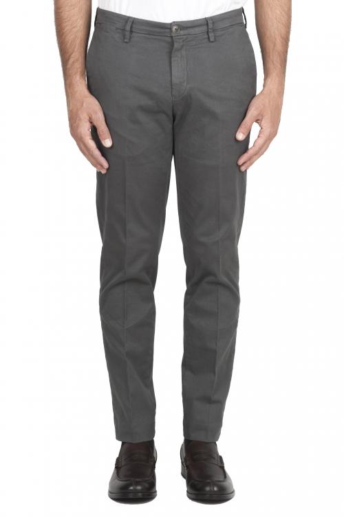 SBU 01536 Pantalones chinos clásicos en algodón elástico gris 01