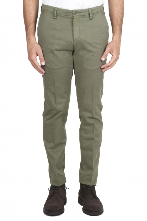 SBU 01538 Classic chino pants in green stretch cotton 01