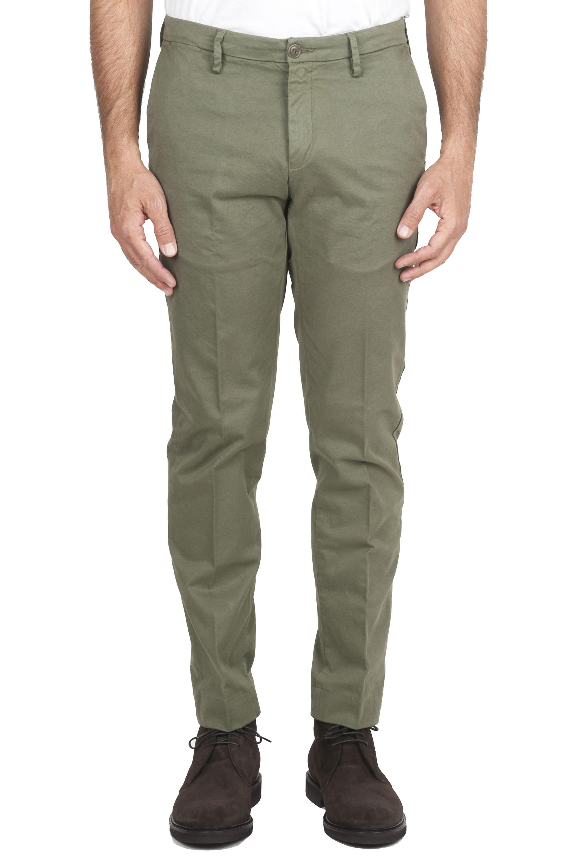 SBU 01538 Pantaloni chino classici in cotone stretch verde 01