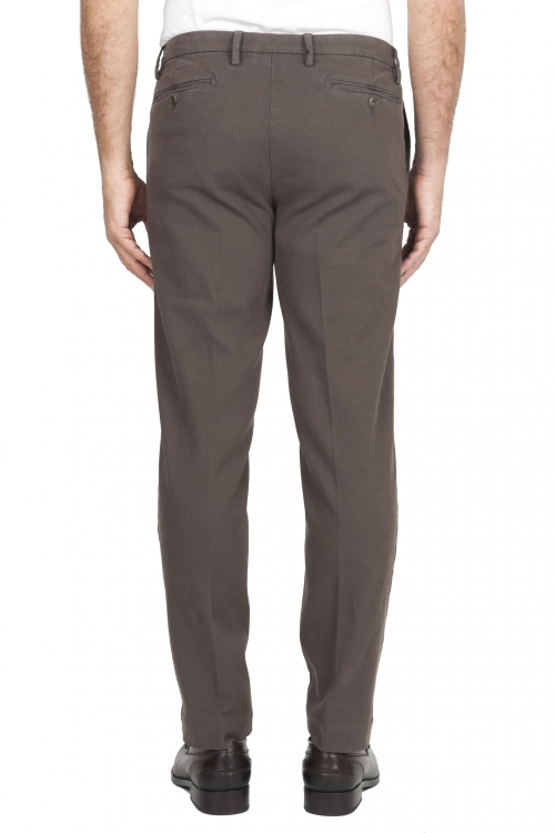 SBU 01539 Pantaloni chino classici in cotone stretch marrone 01