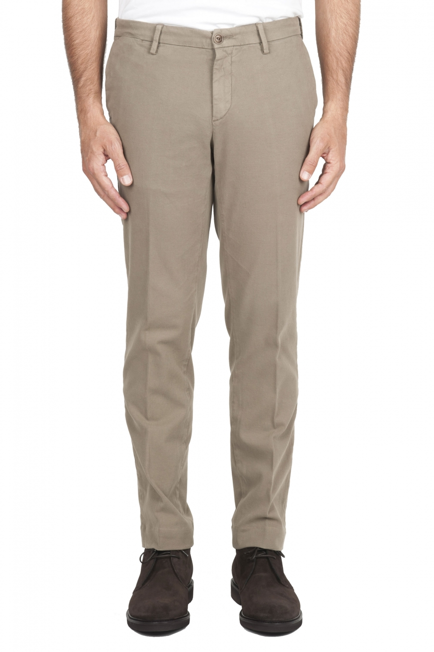 SBU 01541 Classic chino pants in beige stretch cotton 01