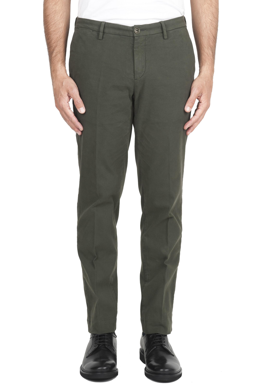 SBU 01542 Classic chino pants in green stretch cotton 01
