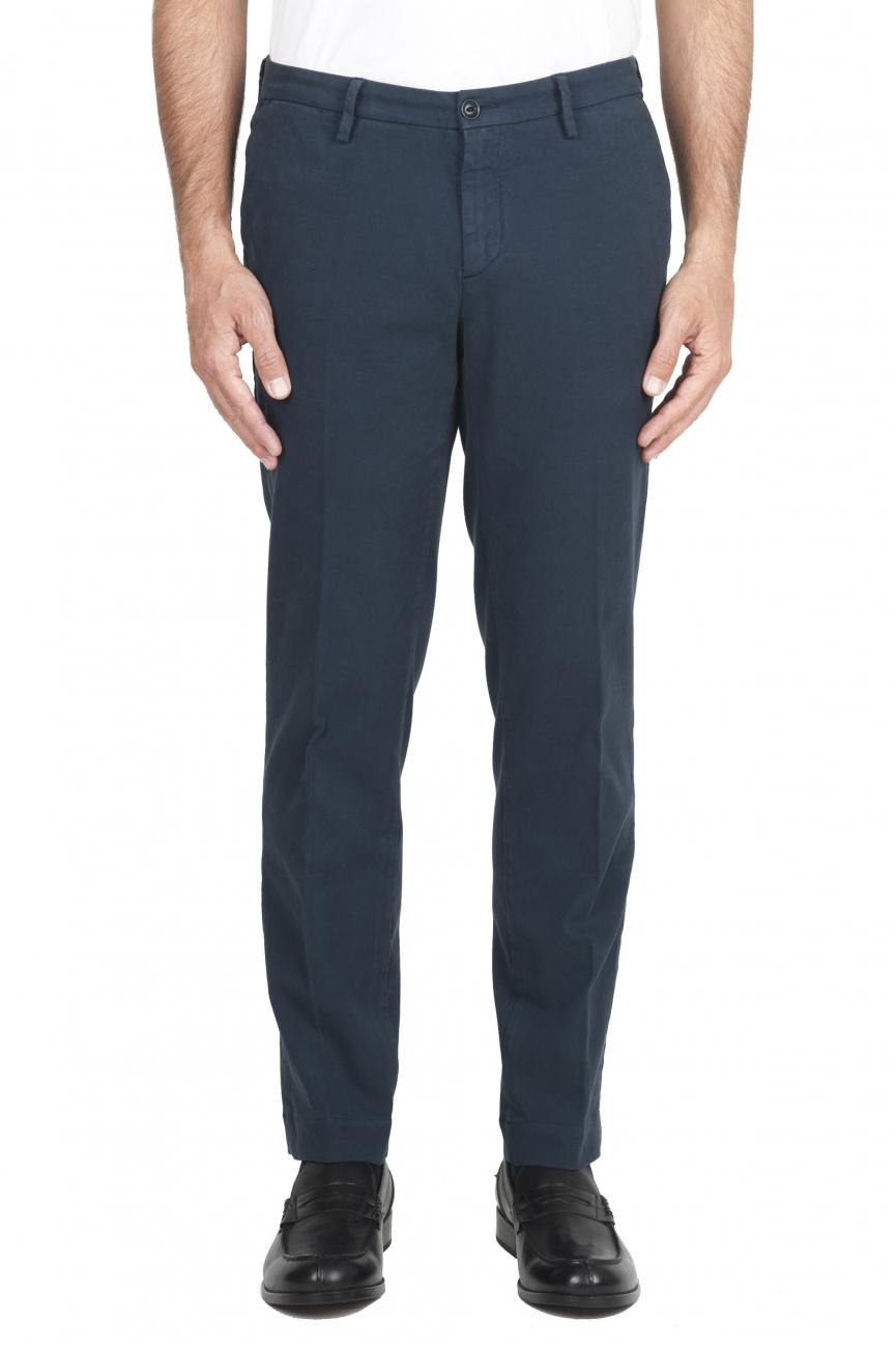 SBU 01544 Pantalones chinos clásicos en algodón elástico azul 01