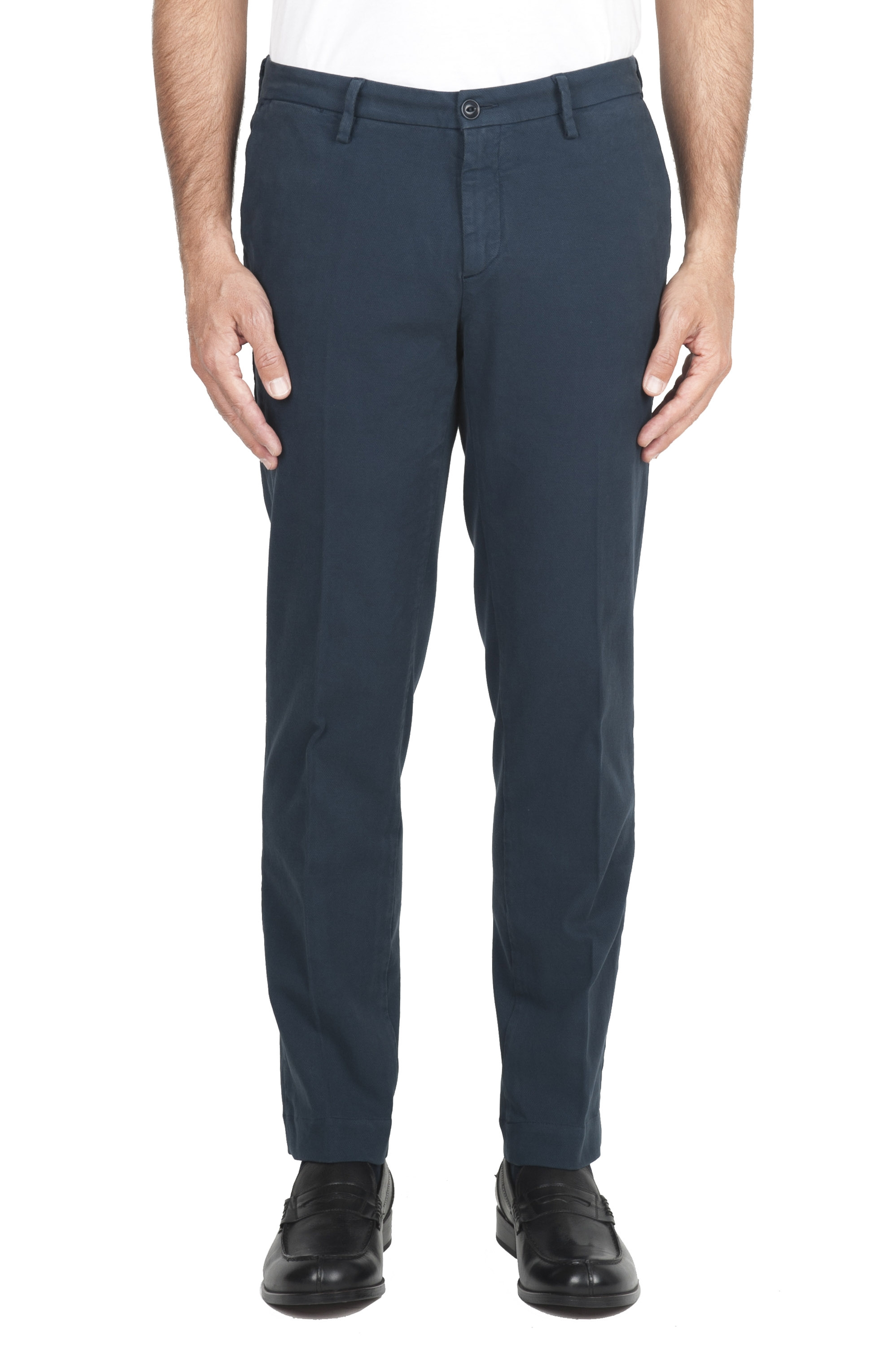 SBU 01544 Pantalon chino classique en coton stretch blue 01
