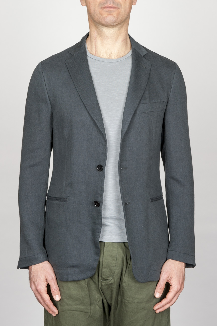 SBU - Strategic Business Unit - Single Breasted Unlined 2 Button Jacket In Grey Cotton Blend
