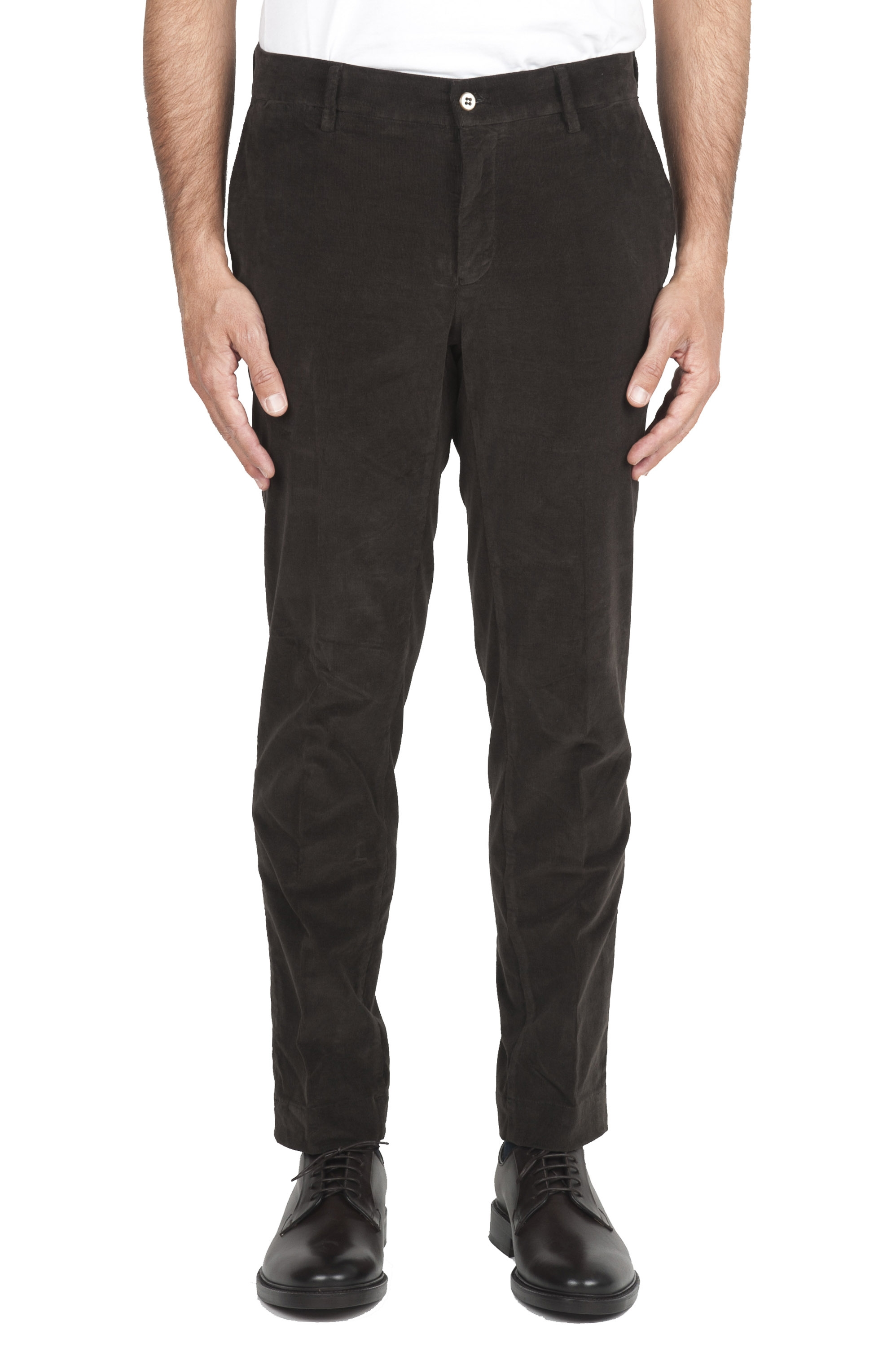 SBU 01547 Pantalon chino classique en coton stretch marron 01