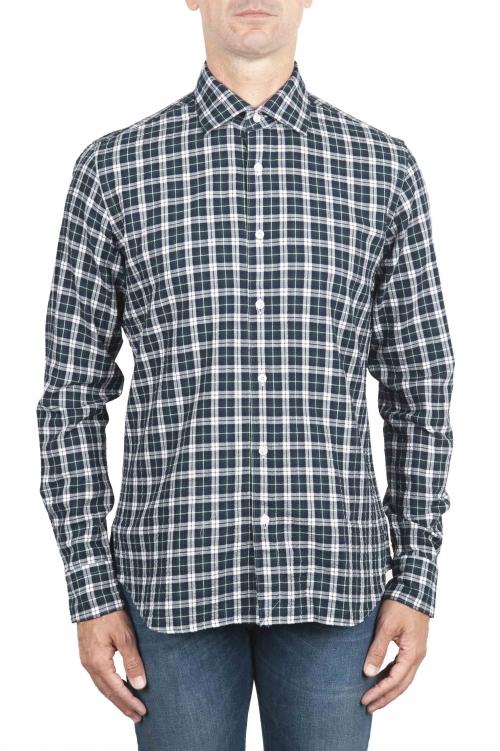 SBU 01549 Camisa patrón de cuadros en algodón en relieve 01