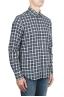 SBU 01549 Camisa patrón de cuadros en algodón en relieve 02