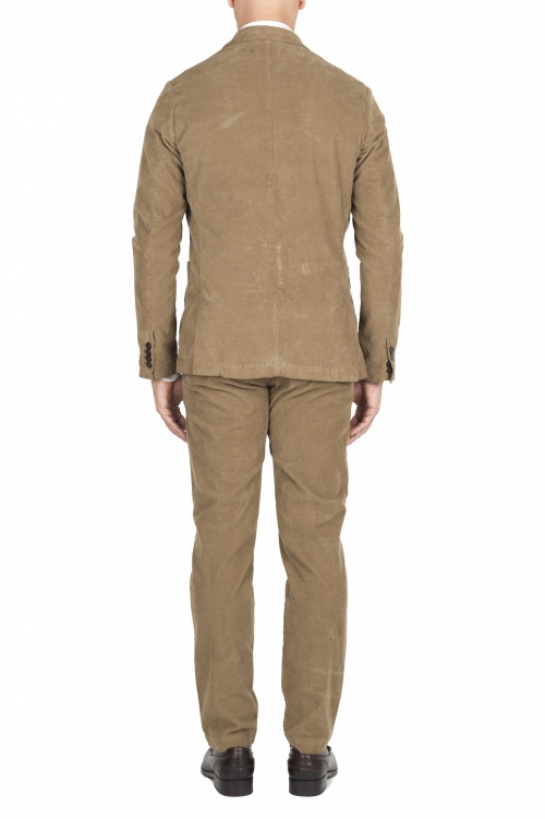 SBU 01550 Veste et pantalon de costume de sport en velours côtelé beige 01