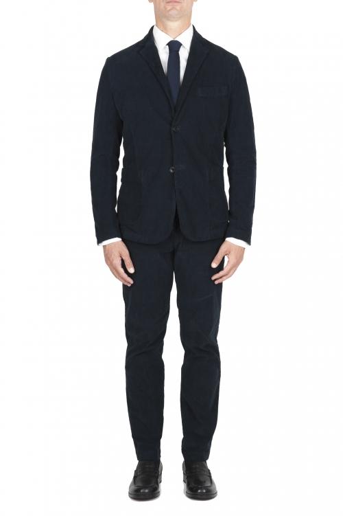 SBU 01551 Blue stretch corduroy sport suit blazer and trouser 01