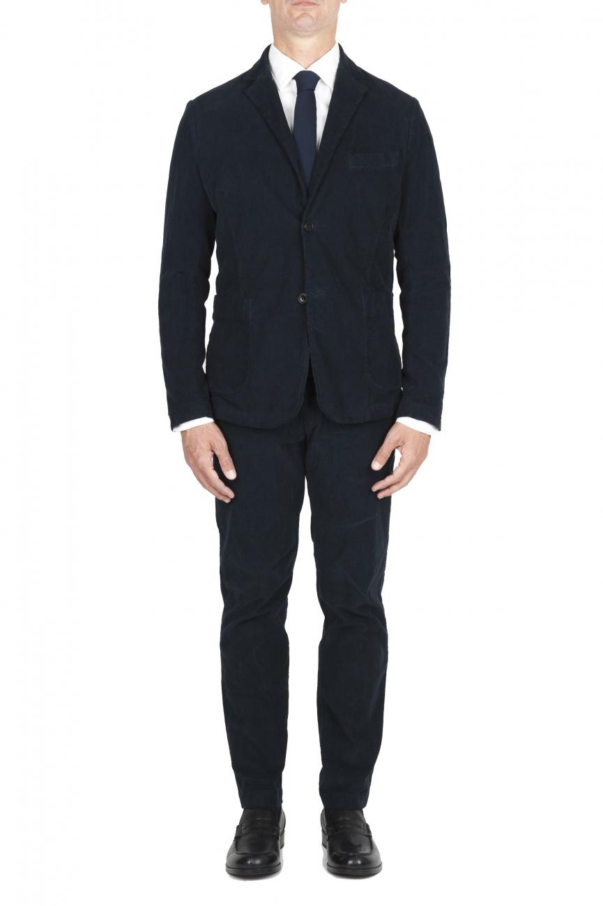 SBU 01551 Abito in velluto elasticizzato a coste blu completo di giacca e pantalone 01