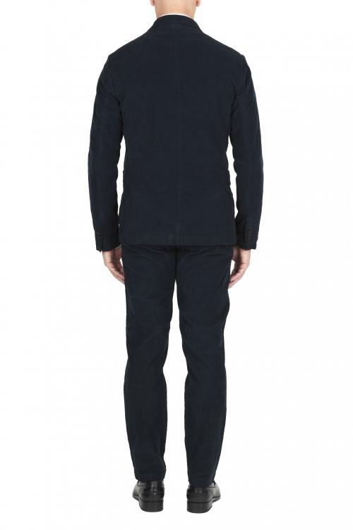 SBU 01551 Veste et pantalon de costume de sport en velours côtelé bleu 01