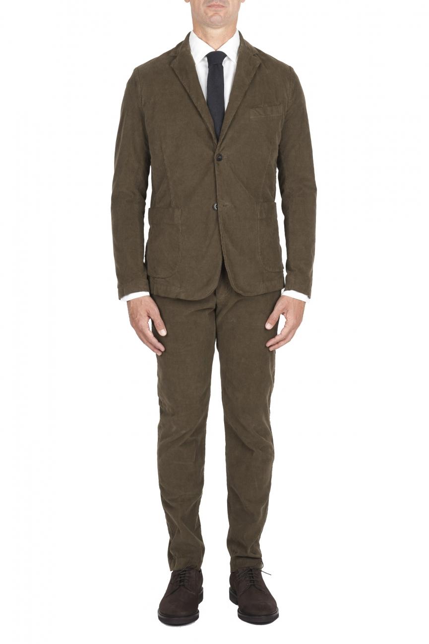 SBU 01552 Abito in velluto elasticizzato a coste verde completo di giacca e pantalone 01