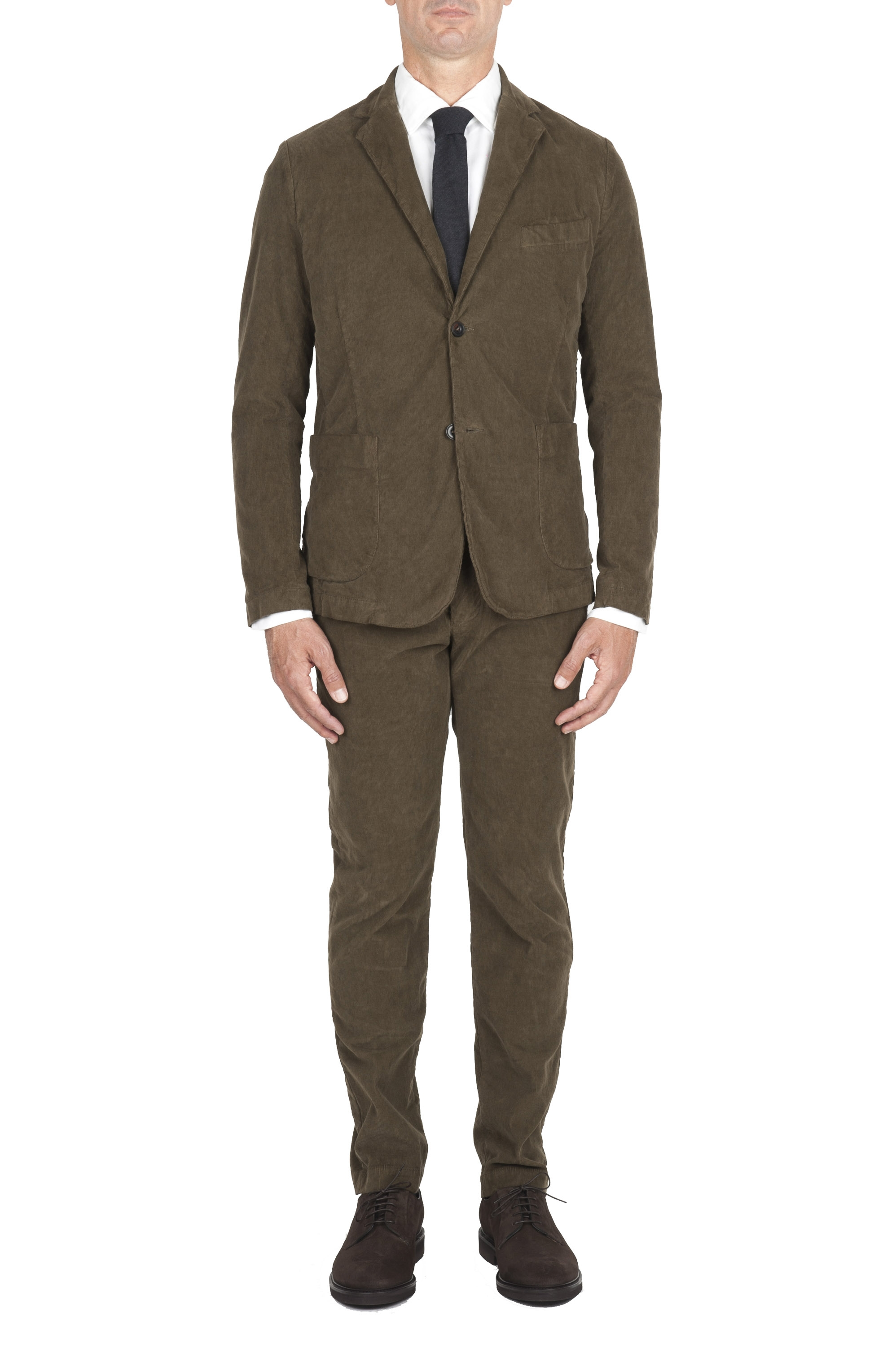 SBU 01552 Green stretch corduroy sport suit blazer and trouser 01