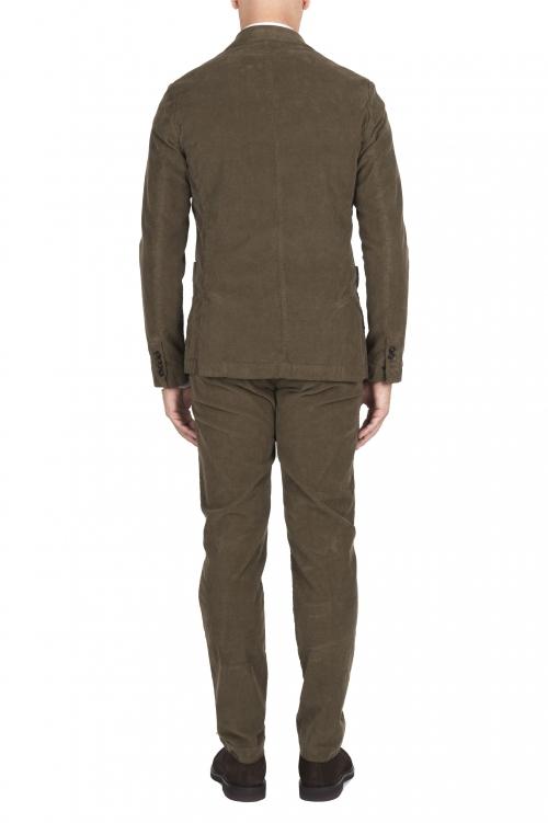 SBU 01552 Blazer y pantalón de traje deportivo de pana elástico verde 01
