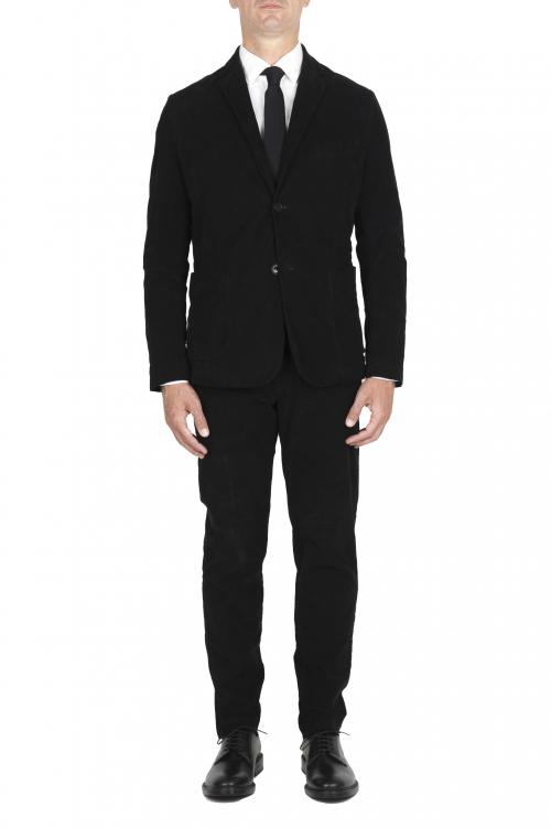 SBU 01553 Black stretch corduroy sport suit blazer and trouser 01