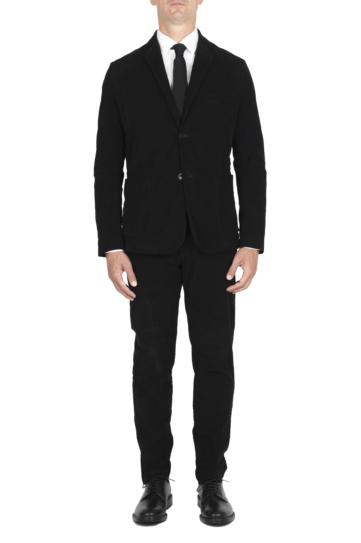 SBU 01553 Abito in velluto elasticizzato a coste nero completo di giacca e pantalone 01