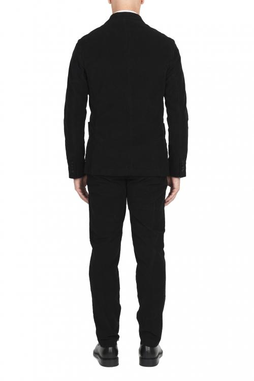 SBU 01553 Veste et pantalon de costume de sport en velours côtelé noir 01