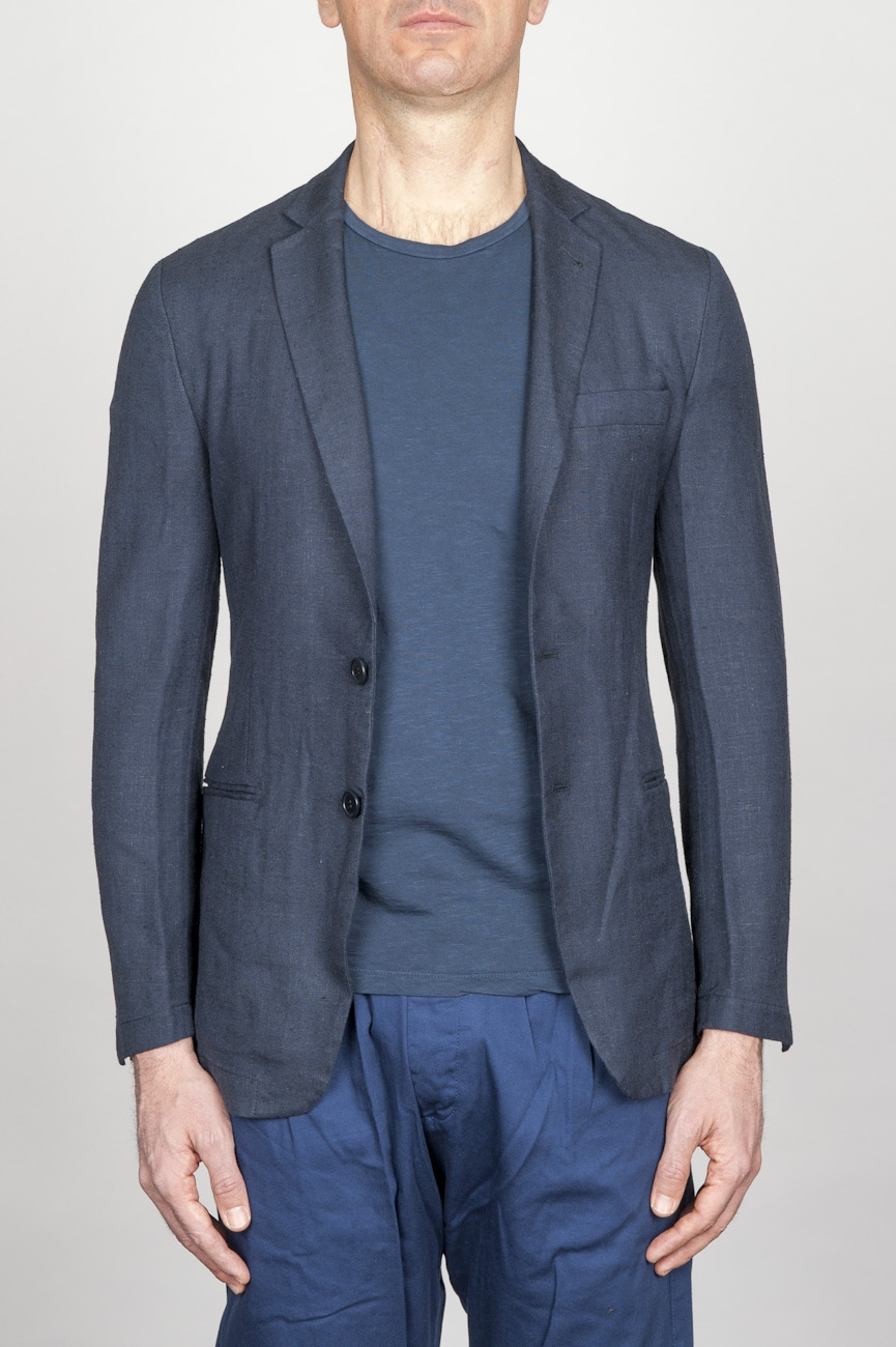 SBU - Strategic Business Unit - Single Breasted Unlined 2 Button Jacket In Blue Washed Linen