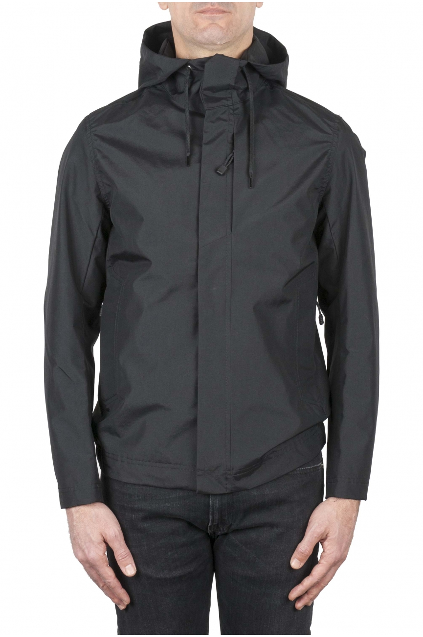 SBU 01557 Technical waterproof hooded windbreaker jacket black 01