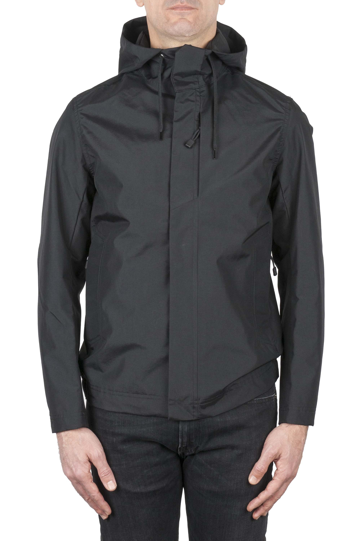 SBU 01557 Chaqueta cortavientos técnica impermeable con capucha negra 01
