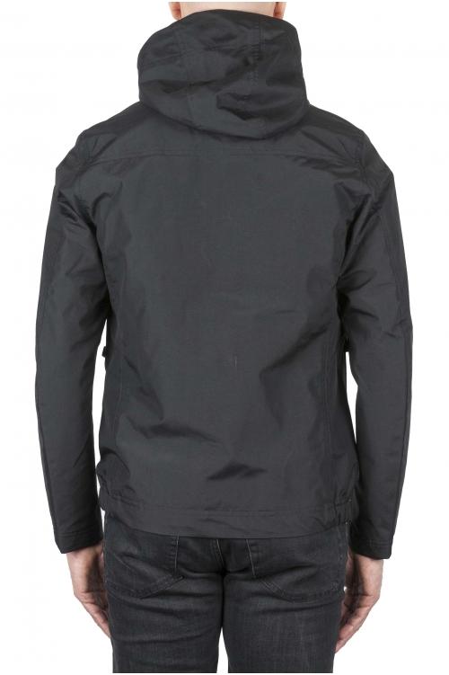 SBU 01557 Coupe-vent à capuche imperméable technique noir 01