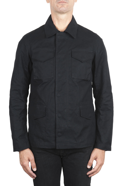 SBU 01560 風と防水のハンタージャケット、黒色の綿花 01