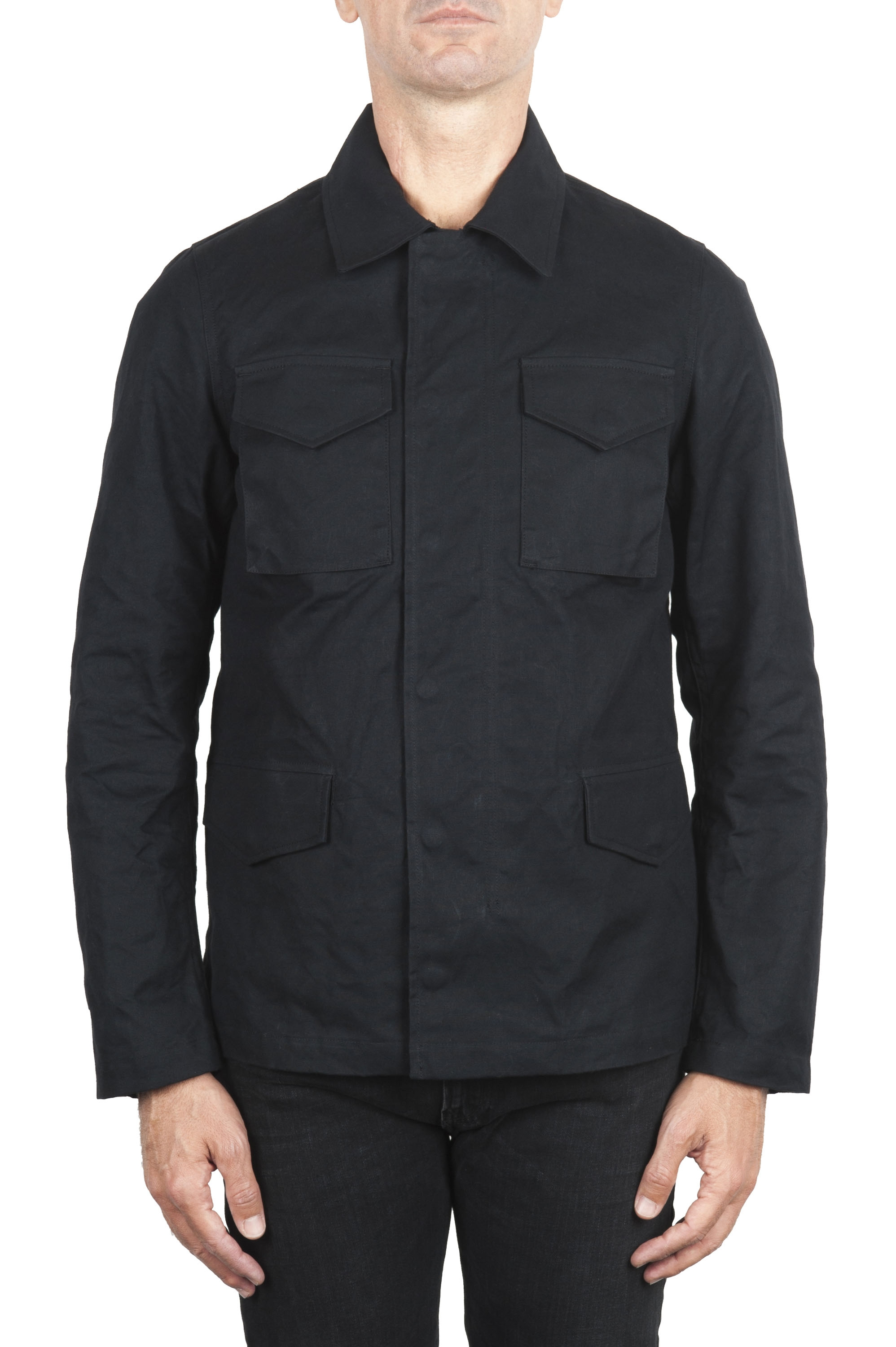 SBU 01560 Wind and waterproof hunter jacket in black oiled cotton 01
