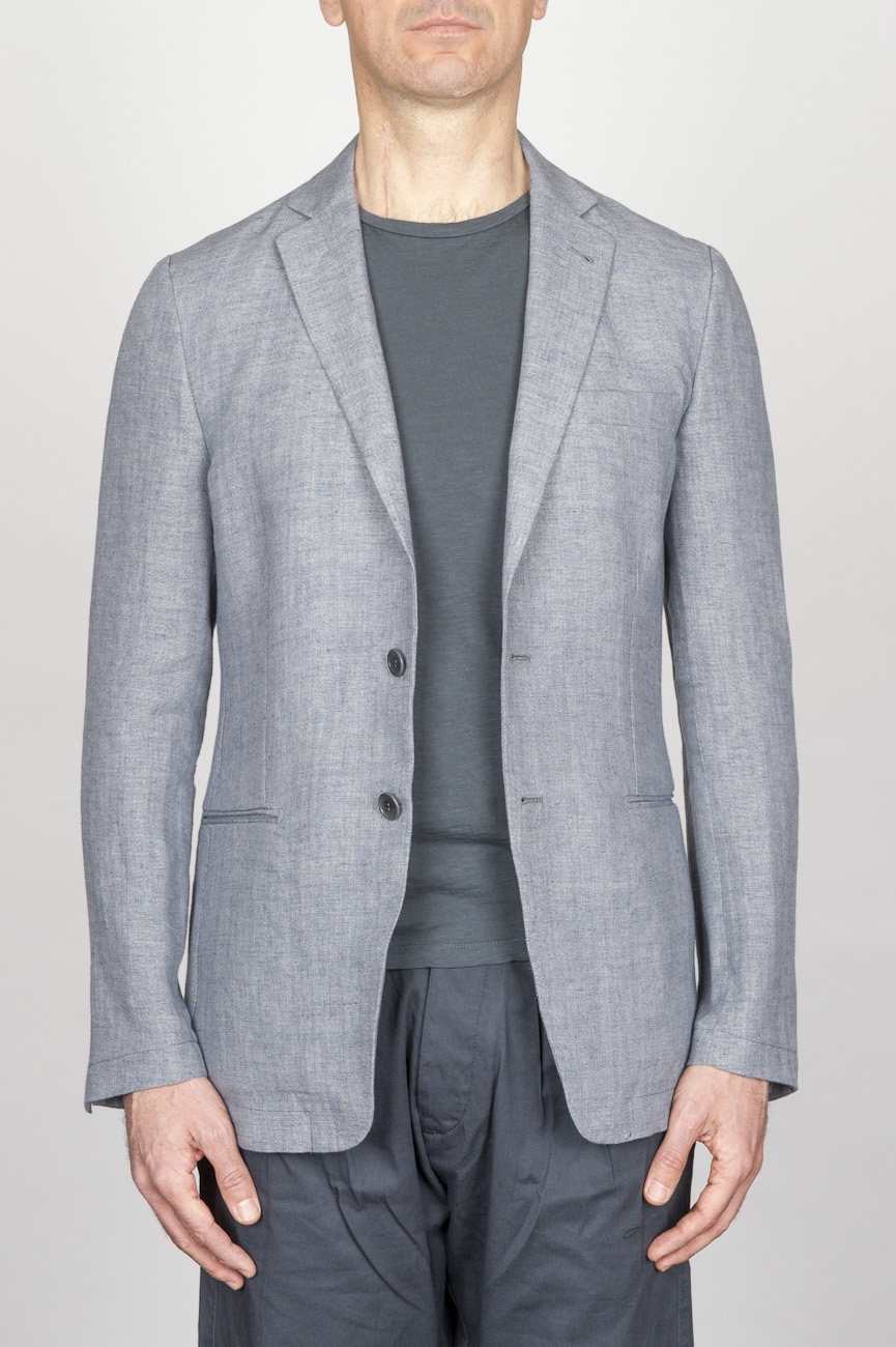 SBU - Strategic Business Unit - Single Breasted Unlined 2 Button Jacket In Grey Linen And Cotton