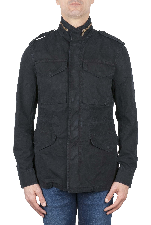 SBU 01566 Stone washed blue cotton military field jacket 01