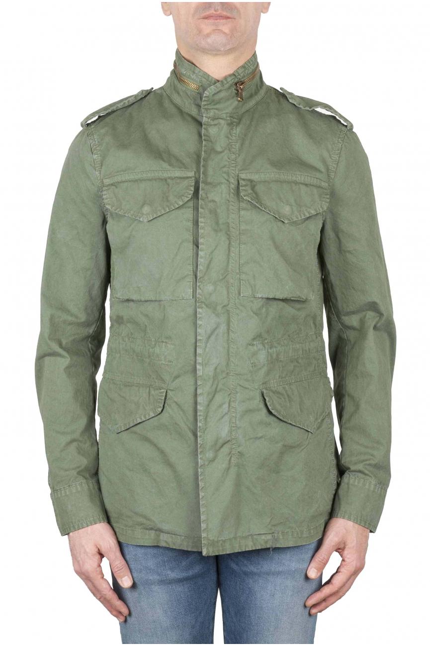 SBU 01567 Chaqueta de campo militar de algodón verde lavada a la piedra 01
