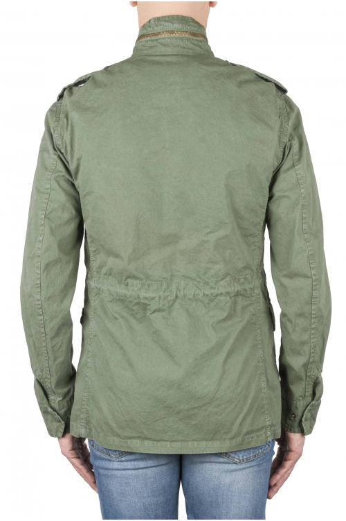 SBU 01567 Stone washed green cotton military field jacket 01