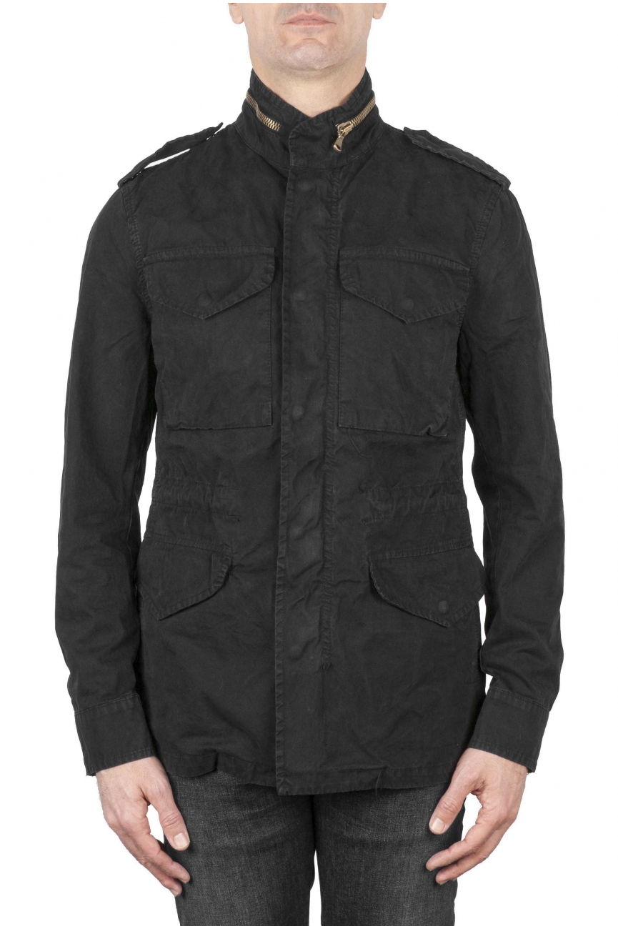 SBU 01568 Stone washed black cotton military field jacket 01