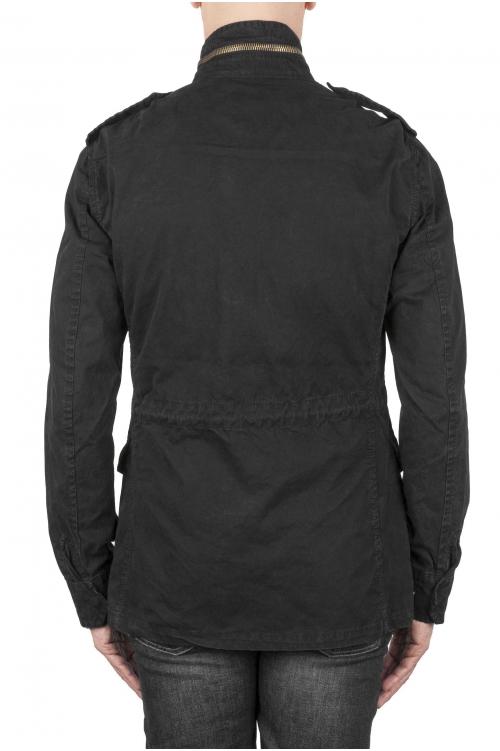 SBU 01568 Veste de campagne militaire en coton noir délavé 01