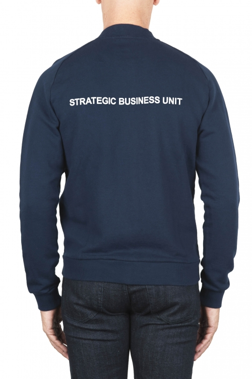 SBU 01462 Blue cotton jersey bomber sweatshirt 04