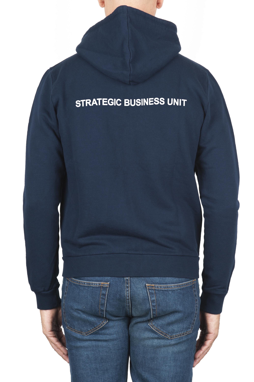 SBU 01464 Felpa con cappuccio in jersey di cotone blu 04