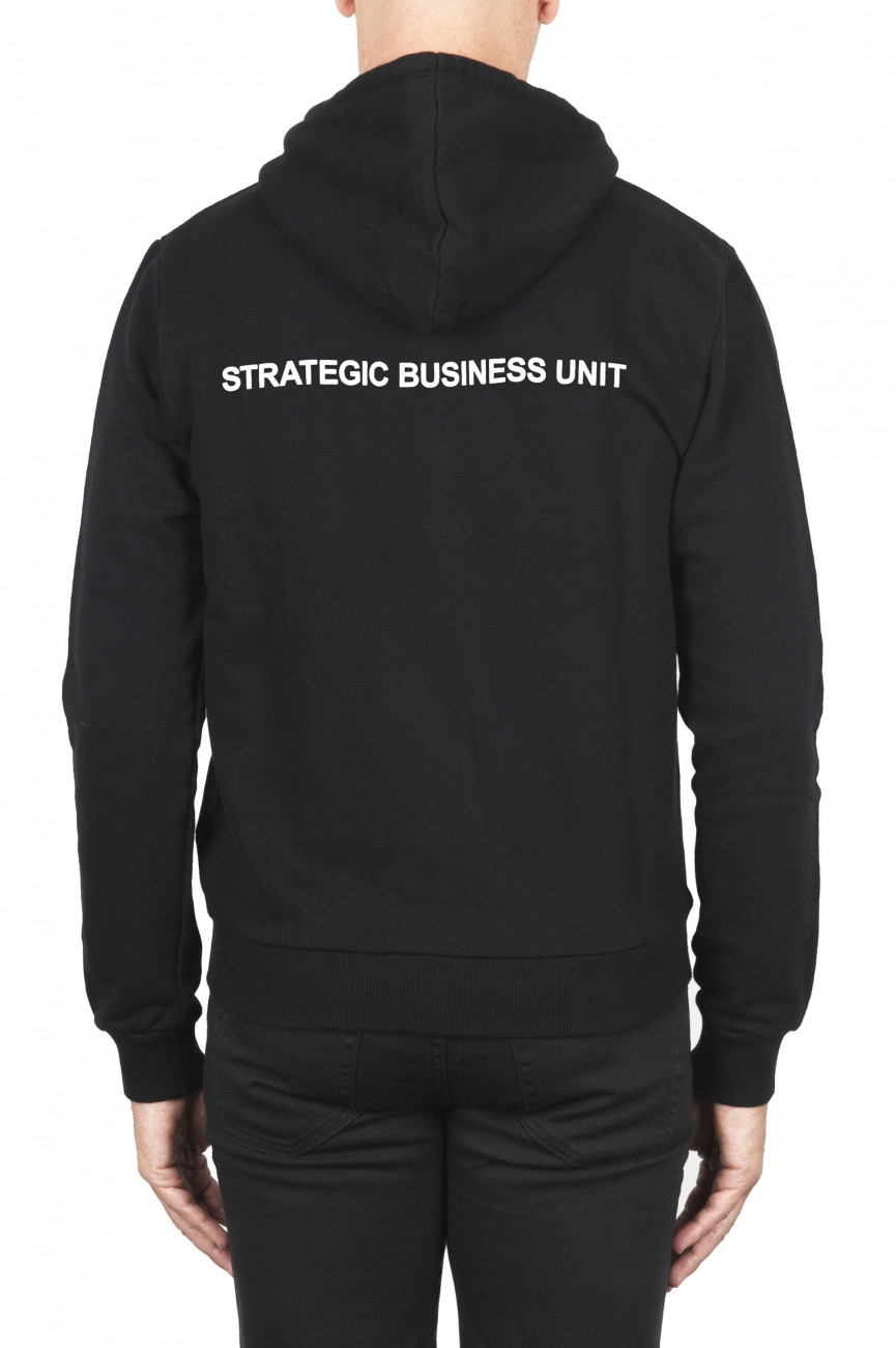 SBU 01465 Black cotton jersey hooded sweatshirt 04