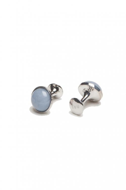 SBU 01009 Classic silver and angelite mineral handmade cufflinks 01