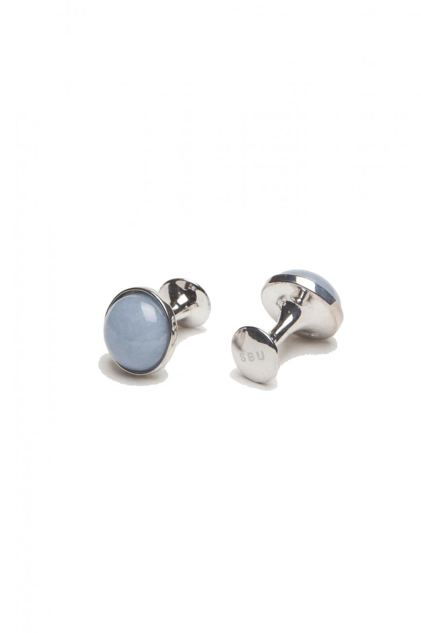 SBU 01009 Gemelli classici fatti a mano in argento e pietra angelite 01